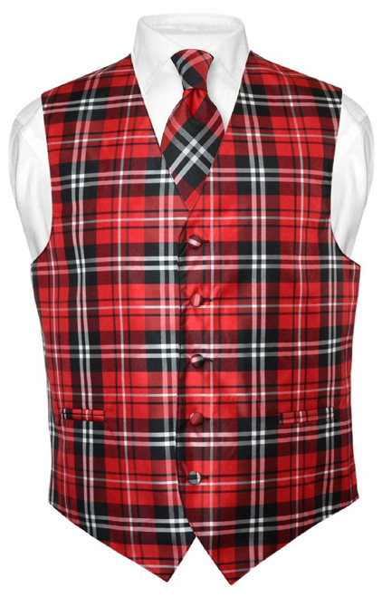 Mens Plaid Vest & NeckTie Set | Black Red White Plaid Pattern Set