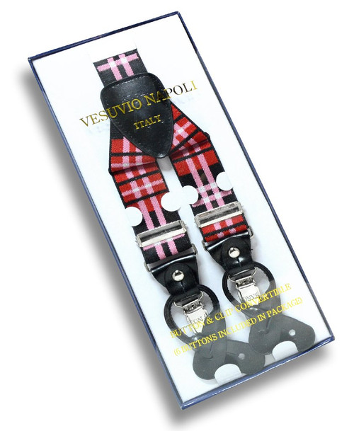 Mens Plaid Design Black Red White Suspenders Y Shape Buttons & Clips