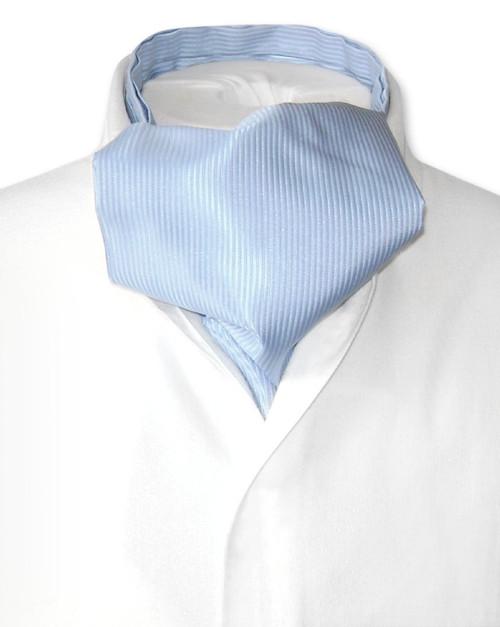 Baby Blue Cravat | Solid Color Ribbed Ascot Cravat Mens Tie