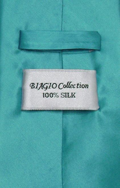 Biagio 100% Silk NeckTie Extra Long Turquoise Blue Mens XL Neck Tie