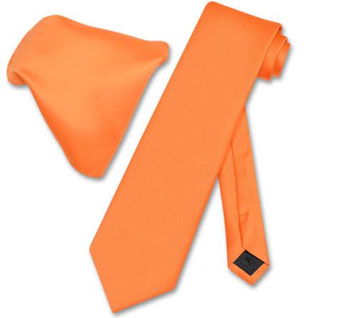 Vesuvio Napoli Solid Orange NeckTie Handkerchief Mens Neck Tie Set