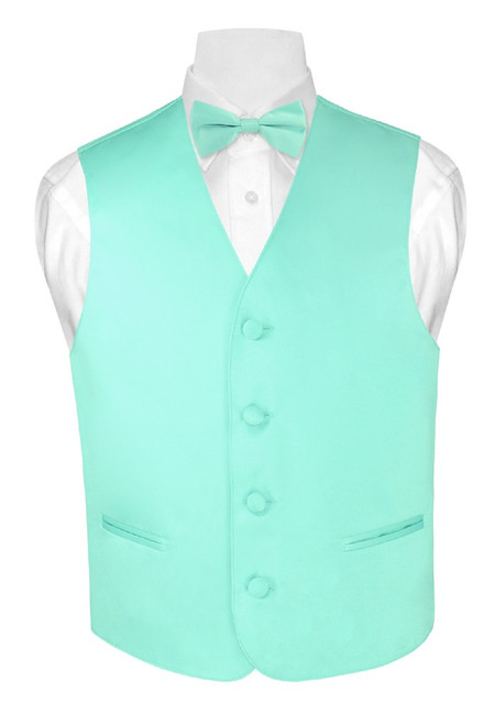 Boys Dress Vest Bow Tie Solid Aqua Green Color BowTie Set