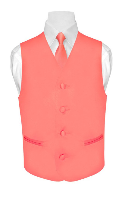 Boys Coral Pink Tie | Boys Coral Pink Dress Vest And Neck Tie Set