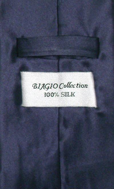 Biagio Silk Solid Navy Blue Color NeckTie Handkerchief Mens Tie Set