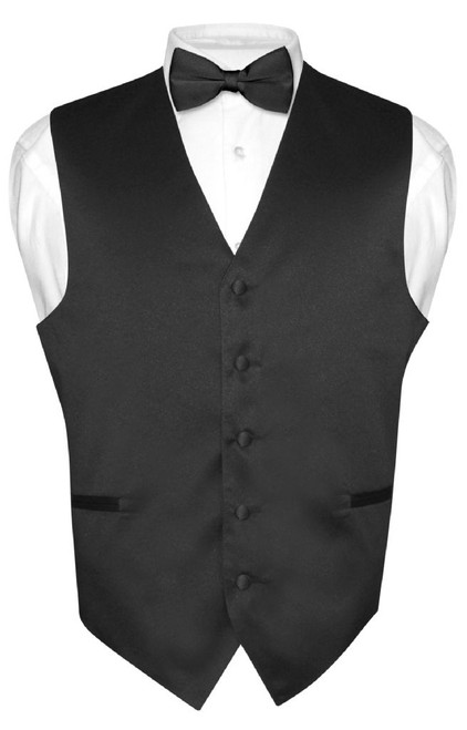 Black Tie And Black Vest Set | Black Vest And Bow Tie Set