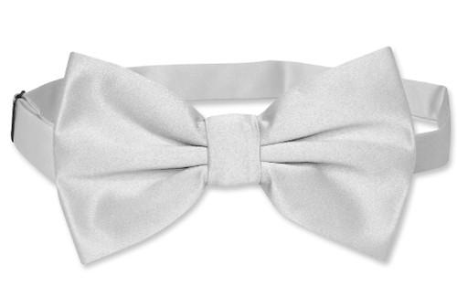 Vesuvio Napoli BowTie Solid Silver Grey Mens Bow Tie Tux or Suit