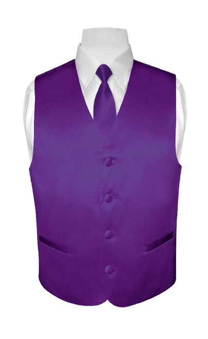 Boys Dress Vest NeckTie Solid Purple Indigo Color Neck Tie Set