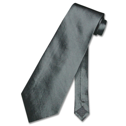 Covona NeckTie Solid Charcoal Gray TextuRed Color Mens Grey Neck Tie