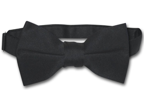 Vesuvio Napoli Boys BowTie Solid Black Color Youth Bow Tie
