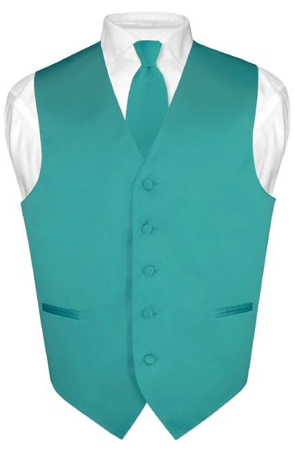 Mens Dress Vest & NeckTie Solid Teal Color Neck Tie Set