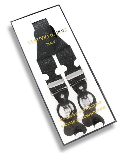 Mens Metallic Black Suspenders Y Shape Back Elastic Button & Clips
