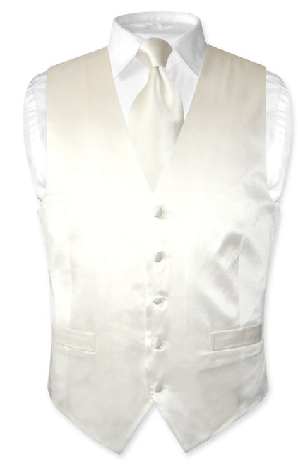 Off White Vest | Off White NeckTie | Silk Vest Neck Tie Set