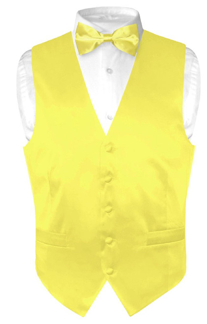 Yellow Vest | Yellow BowTie | Silk Solid Color Vest Bow Tie Set