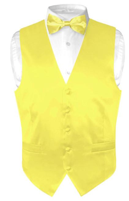 Biagio Mens Silk Dress Vest & Bow Tie Solid Yellow Color BowTie Set