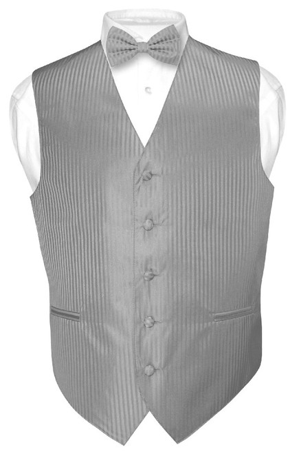 Mens Dress Vest BowTie Silver Grey Vertical Striped Gray Bow Tie Set