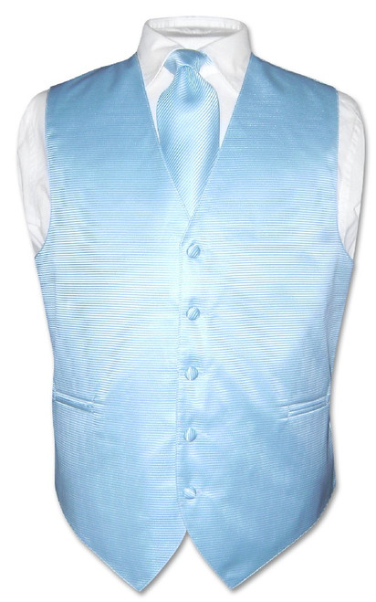 Mens Dress Vest NeckTie Baby Blue Woven Neck Tie Horizontal Stripe Set