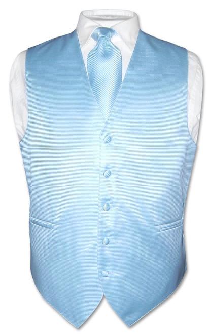 Mens Dress Vest NeckTie Baby Blue Woven Neck Tie Horizontal Stripe Set