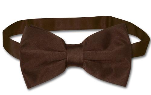 Vesuvio Napoli BowTie Solid Chocolate Brown Color Mens Bow Tie