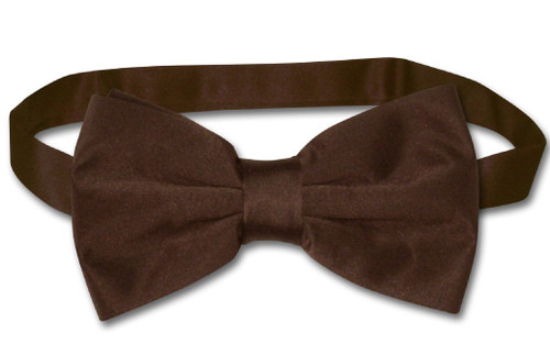 Vesuvio Napoli BowTie Solid Chocolate Brown Color Mens Bow Tie