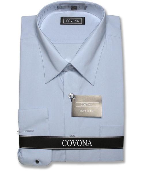 Covona Mens Solid Powder Blue Dress Shirt with Convertible Cuffs