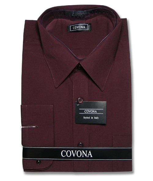 Covona Mens Solid Burgundy Color Dress Shirt with Convertible Cuffs