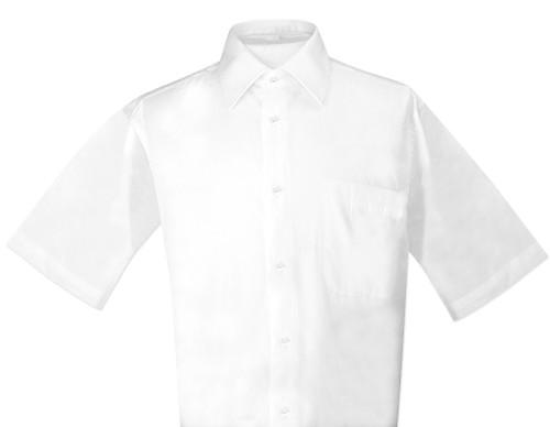 White Color Mens Short Sleeve Dress Shirt   Biagio 100% Cotton Shirt