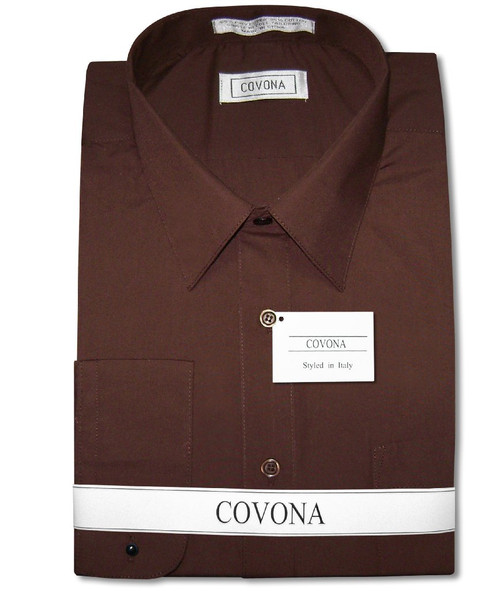Mens Solid Chocolate Brown Color Dress Shirt with Convertible Cuffs