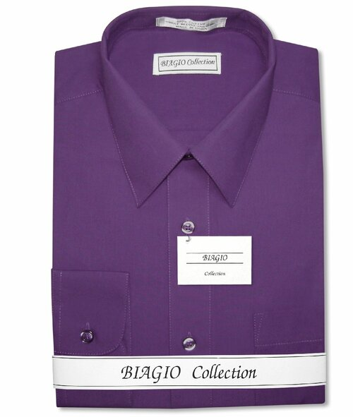 Biagio Mens All Cotton Solid Purple Dress Shirt with Convertible Cuffs