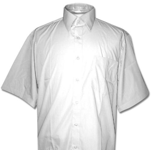 Covona Mens Short Sleeve Solid Silver Grey Color Dress Shirt