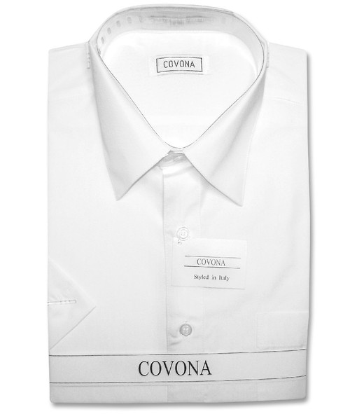 Covona Mens Short Sleeve Solid White Color Dress Shirt