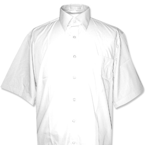 Covona Mens Short Sleeve Solid White Color Dress Shirt
