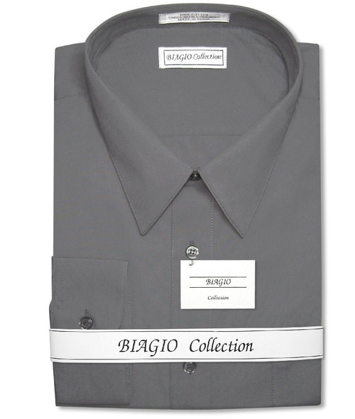 Biagio Mens Cotton Charcoal Grey Dress Shirt with Convertible Cuffs