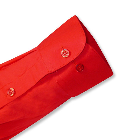 Biagio Mens All Cotton Solid Red Dress Shirt with Convertible Cuffs