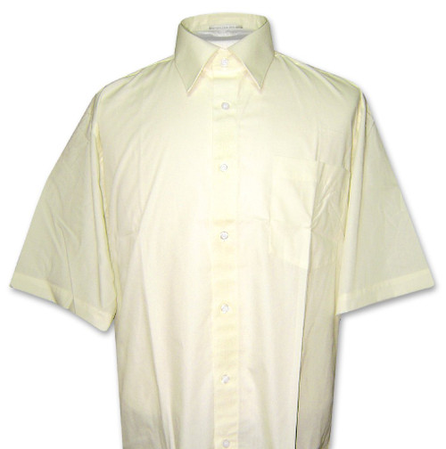 Covona Mens Short Sleeve Solid Yellow Limon Color Dress Shirt