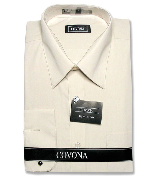 Covona Mens Solid Beige Brown Dress Shirt with Convertible Cuffs