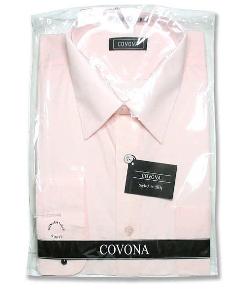 Covona Mens Solid Pink Color Dress Shirt with Convertible Cuffs