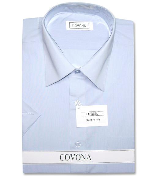 Covona Mens Short Sleeve Solid Powder Blue Color Dress Shirt