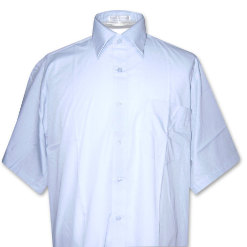 Covona Mens Short Sleeve Solid Powder Blue Color Dress Shirt