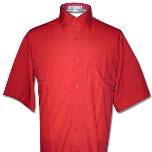Red Short Sleeve Dress Shirt | Mens Red Short Sleve Dress Shirt