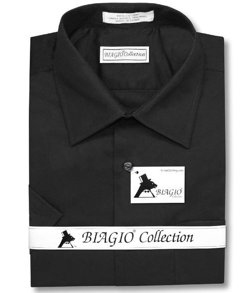 Black Color Mens Short Sleeve Dress Shirt | Biagio 100% Cotton Shirt