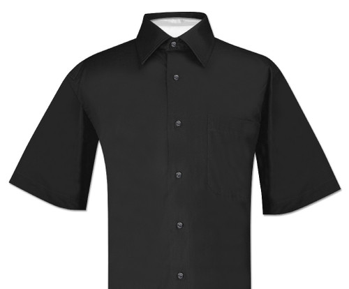 Black Color Mens Short Sleeve Dress Shirt | Biagio 100% Cotton Shirt