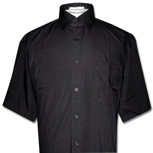 Covona Mens Short Sleeve Solid Black Color Dress Shirt