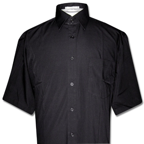 Covona Mens Short Sleeve Solid Black Color Dress Shirt