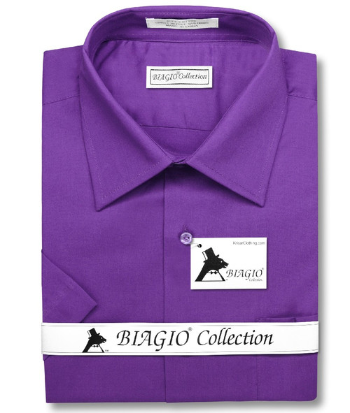 Purple Indigo Mens Short Sleeve Dress Shirt | Biagio Cotton Mens Shirt