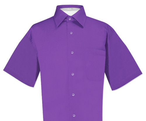 Purple Indigo Mens Short Sleeve Dress Shirt | Biagio Cotton Mens Shirt