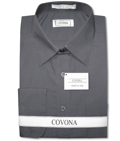 Mens Solid Charcoal Grey Color Dress Shirt with Convertible Cuffs