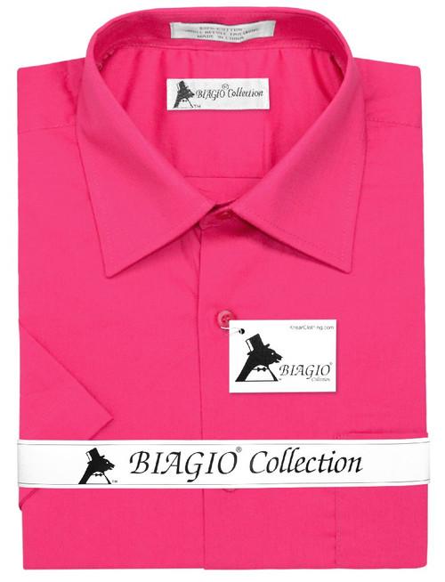 Mens Short Sleeve Dress Shirt | Hot Pink Fuchsia Dress Shirt
