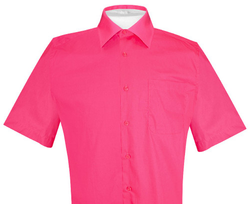 Mens Short Sleeve Dress Shirt | Hot Pink Fuchsia Dress Shirt