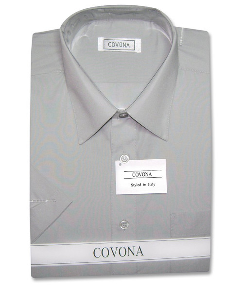 Covona Mens Short Sleeve Solid Dark Grey Color Dress Shirt