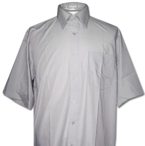 Covona Mens Short Sleeve Solid Dark Grey Color Dress Shirt
